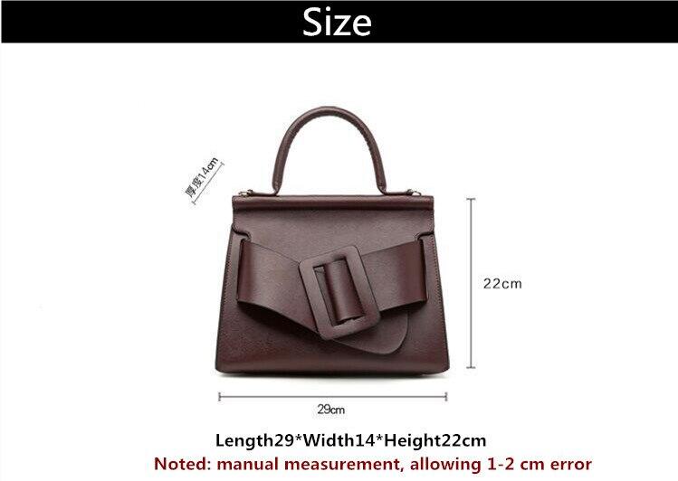 Famous Brand Designer Handbag Genuine Leather Women Vintage Bark Grain Big Buckle Handle bags with strap belt Boyy (2)