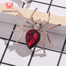 MIAOMIAO LADY Scarf Harajuku Spider Broach Pin Cool Gifts Zircon Unisex Classic Shawl Brooches Needle Sequin Couple(China)