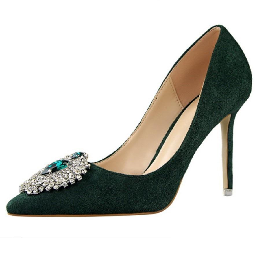Burgundy Green Pink Orange Gray Multi Color Women Wedding Shoes Luxury Rhinestone Diamante Shallow Suede Pumps High Heel Shoes<br><br>Aliexpress