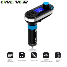 ONEVER 3-in-1 Universal Car Kit MP3 Player FM Transmitter Car modulator radio Dual Port SD Car Charger+Remote Control for iPhone