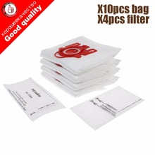 10Pcs/Lot For MIELE FJM C1 & C2 Synthetic Type Hoover Hepa Vacuum Cleaner DUST BAGS With 4pcs FILTERS(China)