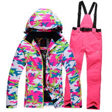 2016 New Winter Women's ski jackets and snow pants Tool Sets windproof Waterproof Breathable Women's Ski Team Warm(China)