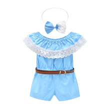 Big Cow Girls Clothing Sets 2017 New Summer Fashion One Piece Kids Sleeveless Casual Jumpsuit +Hair band + belt Children Costume