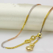 New Real 18k Multi-tone Gold Chain Women Men Luck 1.2mmW Wheat Adjustable Chain Necklace(China)