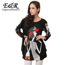 Long-sleeved O-neck cashmere sweater large size red hot drilling cartoon print dress 2016 new winter fashion