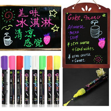 Freen Shipping Lot 8pcs/set 8 Color Highlighter Fluorescent Liquid Chalk Marker Neon Pen For LED Writing Board