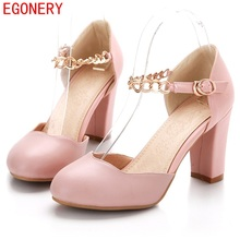EGONERY Spring Air Faux Leather Round Toe Strap Buckle Square Heels Fashion Summer Style Womens Shoes Pump Woman