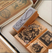 Special offer,DIY Scrapbooking Alice Dorothy Stamps Vintage Wooden Rubber Ink Pad Stamp Iron Box Sealing Stamp Set