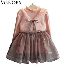 Menoea Long Sleeve Girl Dress 2017 New Autumn Dresses Children Clothing Princess Dress PinkWool Bow Design Girls  Clothes