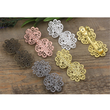 BoYuTe 5Pcs 36*75MM Flower Hair Clip Wholesale 6 Colors Plated Vintage European Hair Clip(China)