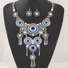 European and American necklace retro personality turquoise blue eyes collarbone necklace female accessories