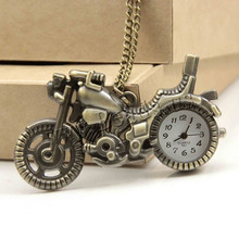 Free shipping Fashion Bronze Motorcycle Motorbike Pocket Watch Necklace Pendant Mens Watches Steampunk Gift