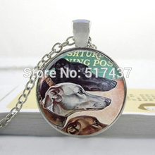HZ--A281 2017 New Vintage Greyhound Necklace Dog Pendant Glass Photo Pendant Necklace Glass Picture Pendant