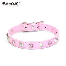 1 Row Bling Crystal Dog Collar Diamante Sharp Spiked Studded Leather Cat Collars For Small Breeds Pet Products