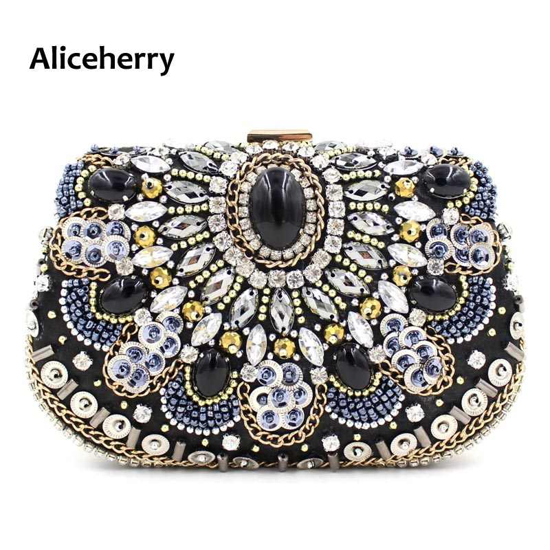 Aliceherry Designer Handbags High Quality Women Evening Clutch Bags Ladies Crystal Beaded Diamond Wedding Party Cheongsam Bag<br>