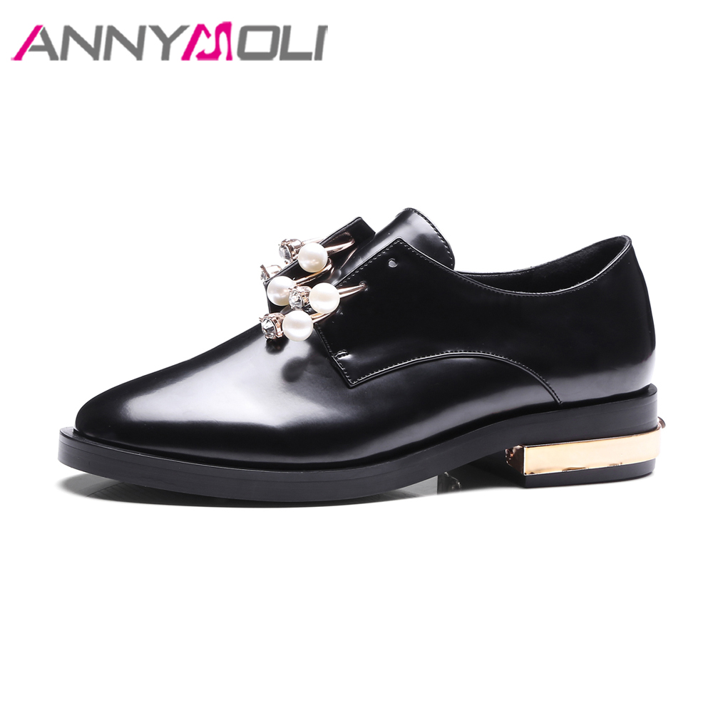 ANNYMOLI Designer Shoes Women Flats Pearls Derby Shoes Lace Up Round Toe Casual Shoes Black Footwear Big Size 42 43 White Black<br>