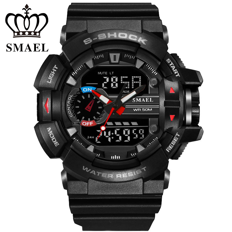 SMAEL Sport Army Military Dual Movement Rubber Band Digital LCD Electronic Analog Watch Wristwatch For Male Men / WCH0012<br><br>Aliexpress