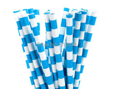 100pcs/lot Royal Blue Rugby Stripe Paper Straws Cheap Straws For Wedding Party Birthday Decoration