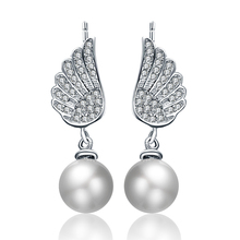 2016 New arrival hot angel wings shell pearl crystal 925 sterling silver ladies`stud earrings jewelry gift wholesale