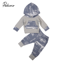 Pudcoco New Toddler Kid Baby Boy Girls Clothes Infant's Cotton Long Sleeve Cute Hoodie Tops +Pants Leggings 2Pcs Outfits(China)