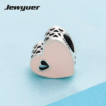 Buy Silver Heart Pink Enamel charms 925 Sterling Silver jewelry fit charm Bracelets DIY women Jewyuer fine jewelry BE327 for $11.88 in AliExpress store