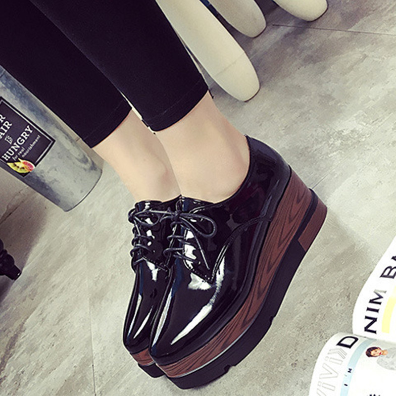 2017 New Vintage Oxfords Shoes For Women Platform Creepers Womens Oxfords Shoes Casual Ladies Flats Shoes heels 6.5 cm<br><br>Aliexpress