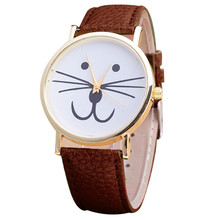 Mullticolor Lovely Cute Cat Face Pattern Leather Band Analog Auto Date Buckle Quartz Wrist Watches Montre Femme Big Discount