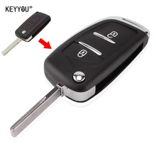 KEYYOU 2 Buttons Modified Flip Folding Remote Key Shell Case  For Peugeot 107 207 307 307S 308 407 607 2BT DKT0269 With LOGO