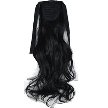 "TOPREETY Heat Resistant B5 Synthetic Fiber 18"" 45cm 90gr Wavy Ribbon Ponytail Extensions 50 Colors Available(China)"