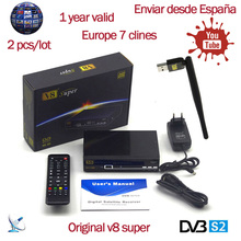 V8 Super DVB-S2 Full 1080P HD FTA Satellite Receiver Support Biss Key Newcam 3G IPTV Youporn+USB WIFI +1 year Europe 7 clines(China)