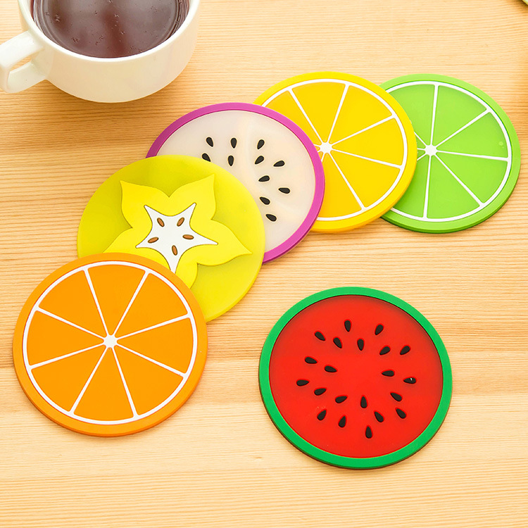 Non-slip Fruit Placemat Cup Mat Pads Coffee Mug Drink Coasters Dining Table Placemats Desk Accessories(China (Mainland))