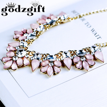Buy Godzgift Women Crystal Jewelry Pink Necklace Fashion Charm Choker Statement Bib Collar Elegant Sweet Necklace Gift Party JN0017 for $2.67 in AliExpress store