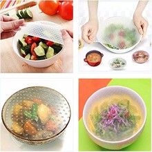 4pcs/Lot Multifunctional Food Fresh Keeper Saran Wrap Kitchen Tools Reusable Silicone Food Wraps Seal Vacuum Cover Lid Str
