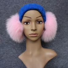 Fluffy Winter Earmuffs Teenager Girl Women Real Fox Fur High Quality Goods Pink White Black Choice Free Shipping Retail BN560-1