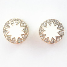 New Women Studs Earrings Resin Daisy Sunflower Sun Flower Gold Alloy Metal Ear Stud Post Earring Lady Girl Fashion Jewelry