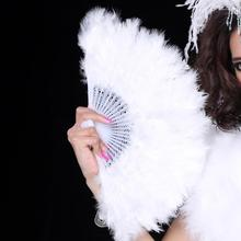 White stylish Soft Fluffy Wedding Hand Fan goose feather fan Dress Costume Dance props(China)