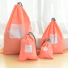 A Set of 4pcs Universal Outdoor Travel Waterproof Nylon Drawstring Storage Bags Pouches Organizers in Different Sizes (Pink)(China)