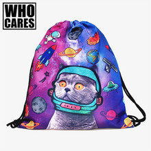 Space Cats 3D printing mini Backpack Women bags 2017 fashion drawstring bag mochila feminina Travel bag backpacks sac a dos