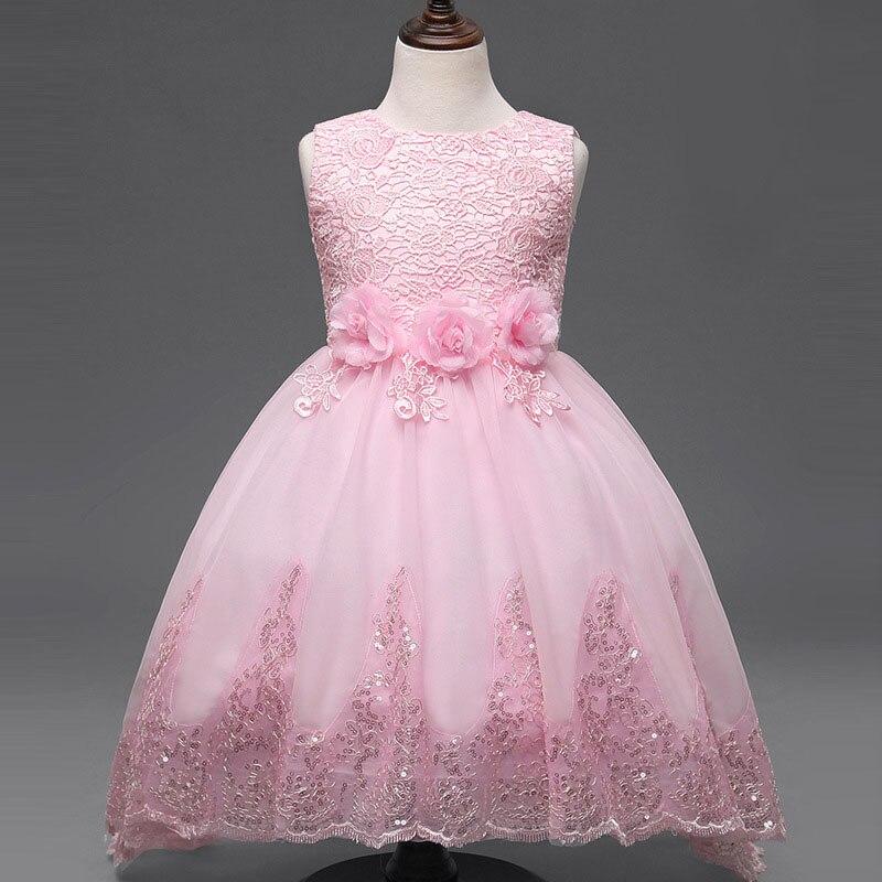 High-end girls crochet dress small flowers flower tail  wedding dress 2 - 12 years old vestido meninas 6<br><br>Aliexpress