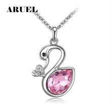 ARUEL fashion Austrian crystal swan pendants necklaces women girls party Gold color/white charm jewelry Valentine's Day gift(China)