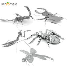 MrPomelo 3D Metal Model Animal Insect Mantis Scorpion Stag Beetle Tarantula Dragonfly Metal Puzzle Adult Models Educational Toy