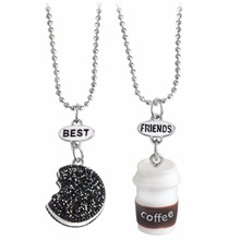 2017 sweet milk cookie best buds friendship pendant necklace 2 in set gift jewelry 7606(China)