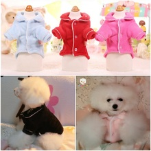 NEW Autumn Winter Dog Pajamas Warm Soft Floral Fleece Teddy Bichon French Bulldog Pet Pyjamas Dog Clothes 6 Color XS S M L XL(China)