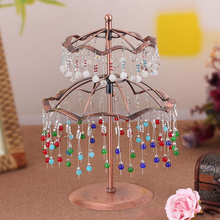 Revolving Earring Display Stand Brown Jewelry Display Two Layer Jewellery Display Stands Holder for Earrings