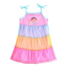 2017 Dora printed party dresses 100% cotton children princess clothes for baby girls Sleeveless kids lace Strap dresses birthday