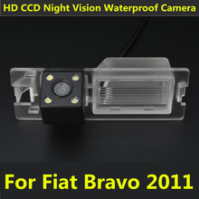 Car CCD 4 LED Night Vision Reverse Backup Parking Assistance Waterproof Reversing Rear View Camera For Fiat Bravo 2011(China)