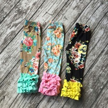 2016 hot sale new Fall/winter free shipping floral  print full length green pink yellow baby girls icing pants cheap ruffle