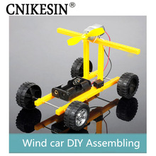 CNIKESIN DIY Kits Wind Car Technology Production Electronic Kits Wind Power Toy Car Originality Assemblin (no battery)(China)