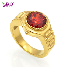 Excellent Design Watch Shape Crystal Ring Jewelry stainless steel vintage Men/Women ring jewelry with rhinestones(China)
