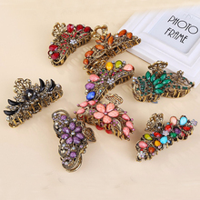 Vintage Elegant Big Crystal Hair Jaw Clip Clamp Flower Metal Rhinestone Hair Claws For Women Hair Accessories Jewelry